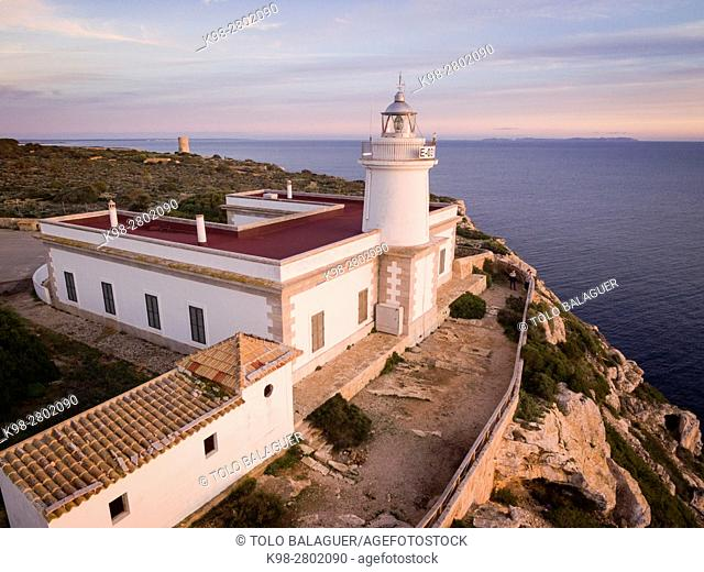 lighthouse of Cap Blanc Built in 1862. , Llucmajor, Mallorca, balearic islands, spain, europe