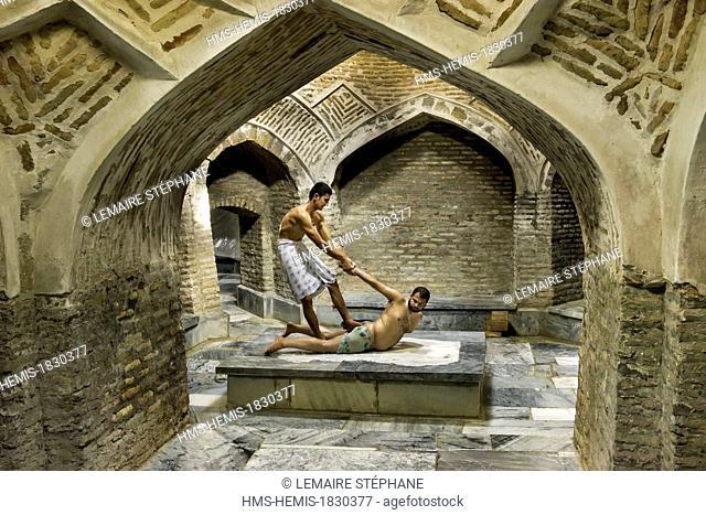 Uzbekistan, Silk Road, Bukhara, historical center listed as world heritage by UNESCO, massage in historic hammam Bozori Kord built in 15th century