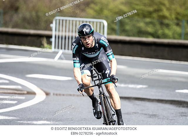 Maximilian Schachmann at Zumarraga, at the first stage of Itzulia, Basque Country Tour. Cycling Time Trial race