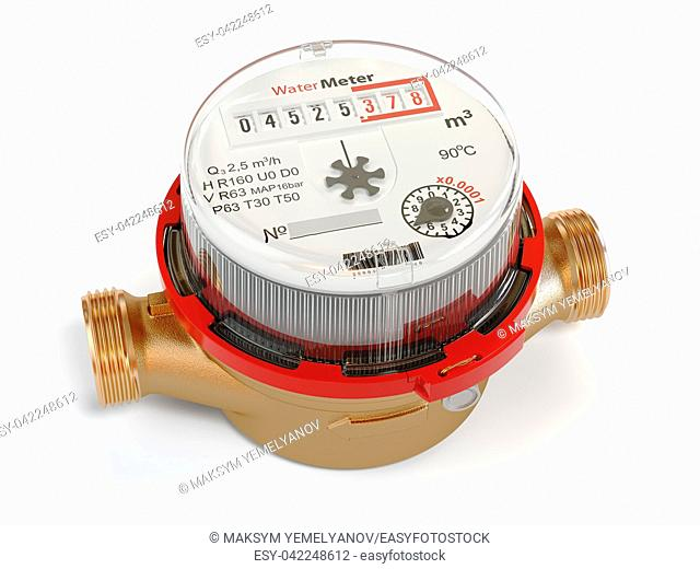 Water meters isolated on white background. 3d illustration