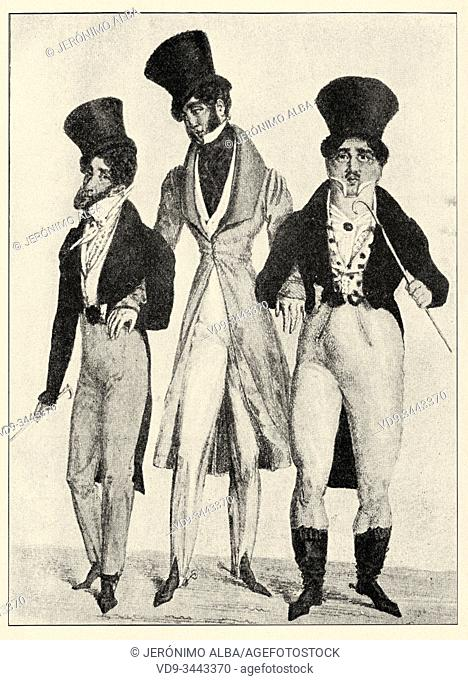 Elegant and modern clothing and apparel from the early 1800s in France. History of France, old engraved illustration image from the book Histoire contemporaine...