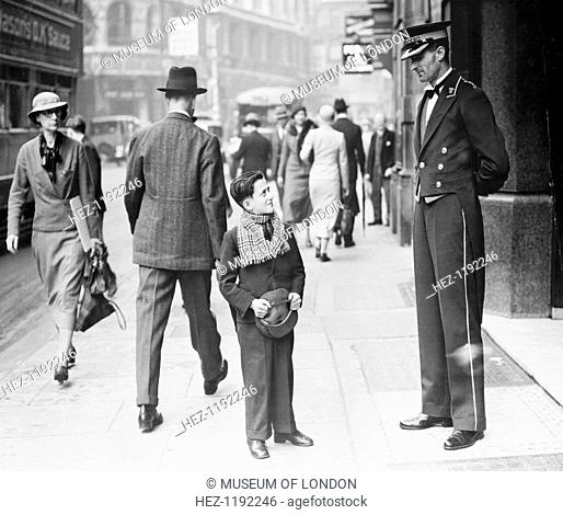 Trocadero pageboy, Westminster, London, 1935. Patrick MacDonald came from Glasgow to find work in London