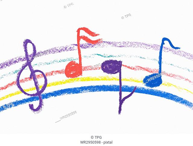 Colorful music notation drawing on white, isolated musical notation
