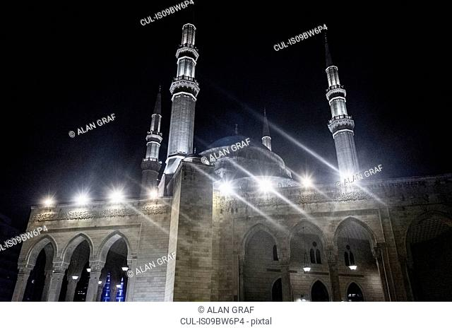 Mohammad Al-Amin Mosque, Martyrs Square at night, Beirut, Lebanon