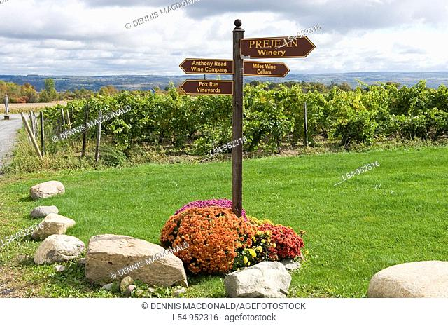 Directional Sign for Wineries Finger Lakes Region New York