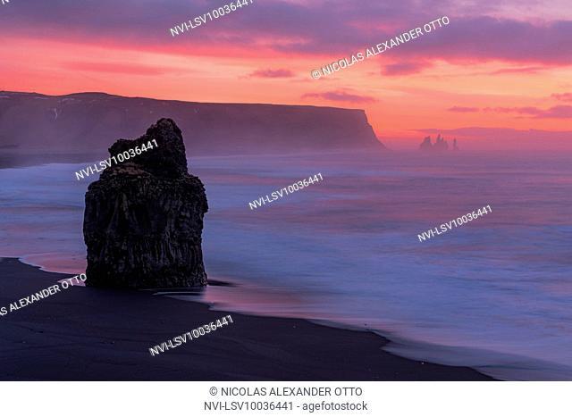 Dawn on the beach at Reynisfjara, Vik, Iceland