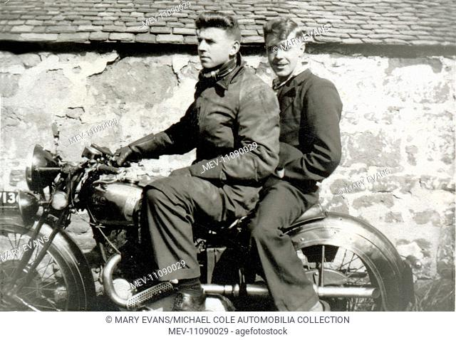 Two men on 1938 Rudge 500cc Special in the 1940s