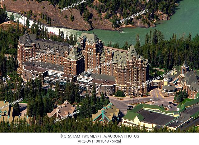 Banff Springs Hotel and forest, summer