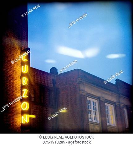 Curzon light neon, Cinema in Chelsea, London, England, UK