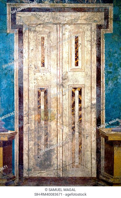 Italy, Naples Museum, Boscoreale, Villa of P. Fannius Synistor, Architecture with Door and Masks