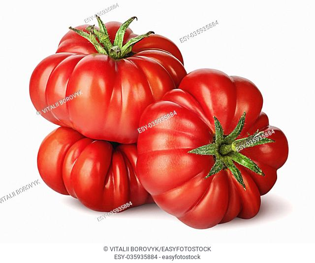 Three tomatoes next to each other isolated on white background