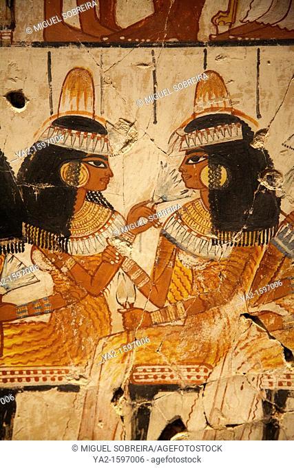 Feast for Nebamun mural at British Museum - detail of three women