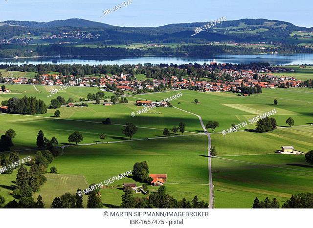 View of Schwangau and Waltenhofen with Lake Forggensee, Ostallgaeu, Allgaeu, Schwaben, Bavaria, Germany, Europe