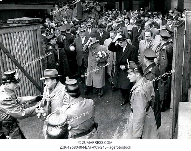 Apr. 04, 1958 - Tumult at Mikoyan visit at the Bonn station : The Soviet guests with Anastas Mikoyan were arriving at the Bonn central station