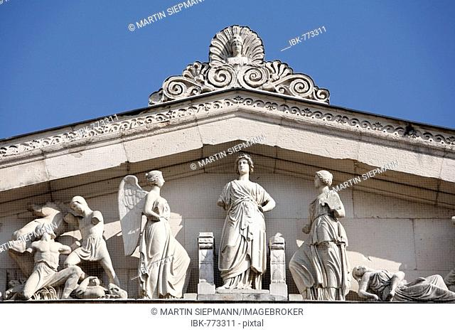 Detail showing statues on the western facade of the Propylaea, Propylea or Propylaia at Koenigsplatz Square, Munich, Bavaria, Germany