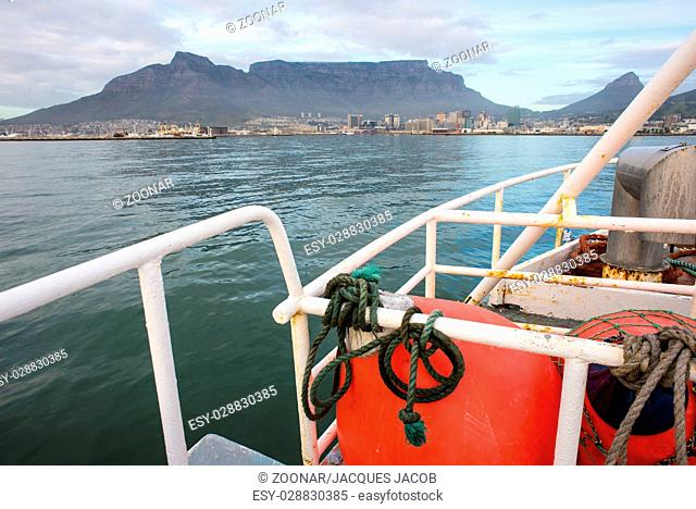 Fishing Trawler in front of Table Mountain