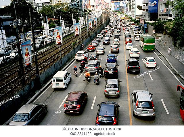 Traffic in Manila in Luzon Metro Manila in the Philippines in Southeast Asia Far East