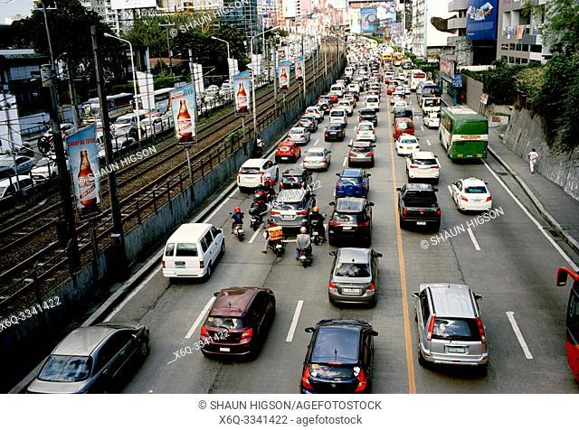 Traffic in Manila in Luzon Metro Manila in the Philippines in Southeast Asia Far East