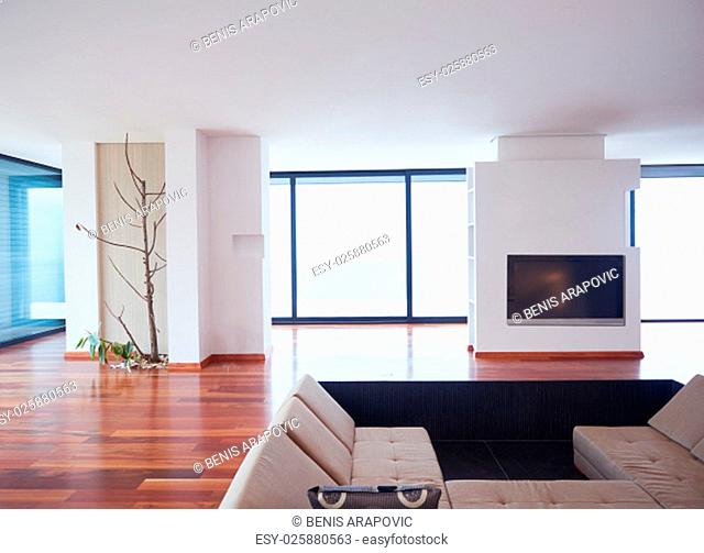 Architecture, Interior, modern apartment, wide living room in bright home