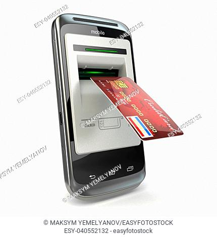 Mobile banking. Mobile phone as atm and credit card. 3d