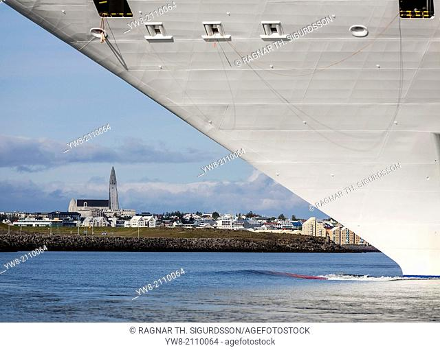 Large Cruise Ship in Reykjavik Harbor, Iceland