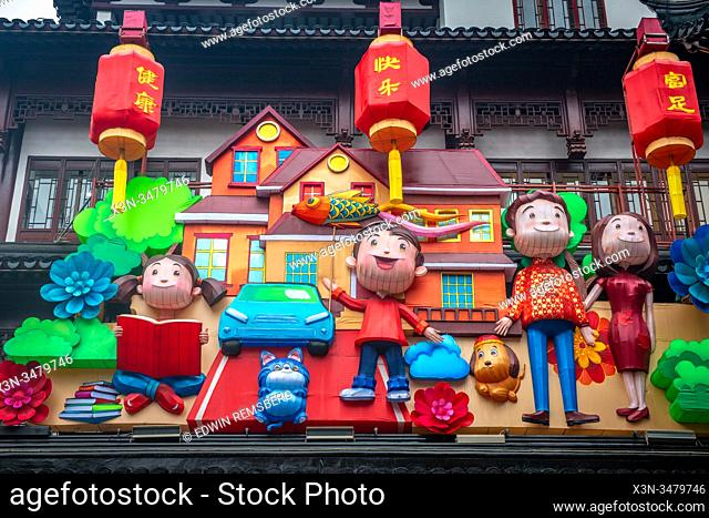 Statues celebrating the Lunar New Year's year of the rat in Shanghai, China