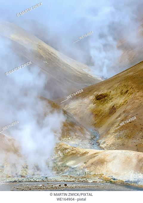 Geothermal area Hveradalir in the mountains of Kerlingarfjoell in the highland of Iceland. europe, northern europe, iceland, september