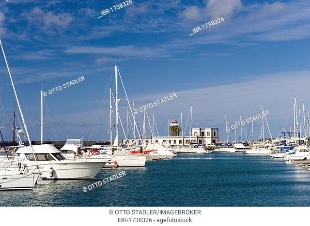 Sailing boats in the marina, Marina Rubicon, Playa Blanca, Lanzarote, Canary Islands, Spain, Europe