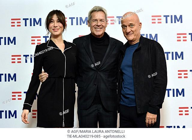 Virginia Raffaele, Claudio Baglioni, Teresa De Santis, Claudio Bisio attends the press conference to present the 69th Sanremo Italian Song Festival, Sanremo