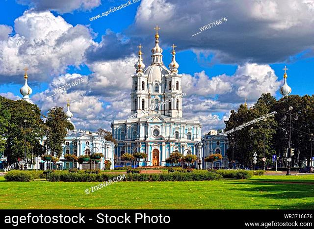 St. Nicholas Cathedral in Saint-Petersburg, Russia. Summer sunny day
