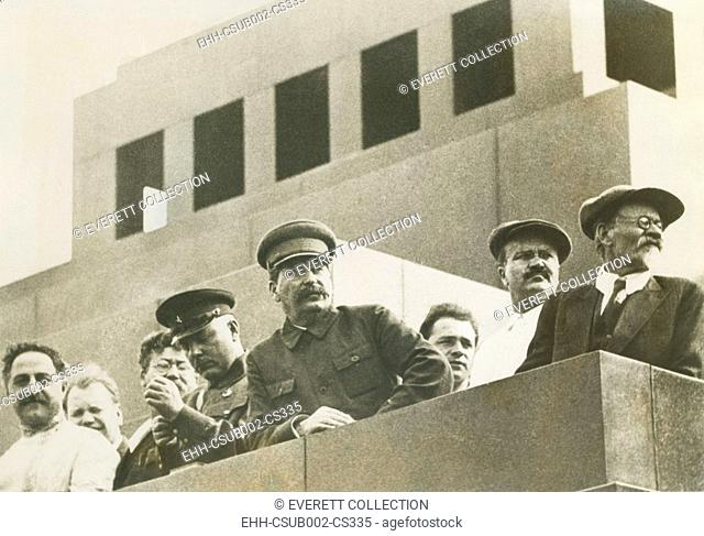 Soviet leaders witnessing the Great Sports Parade of over 100, 000 in Red Square, Moscow. June 29, 1933. L-R: Ordzhonikidze