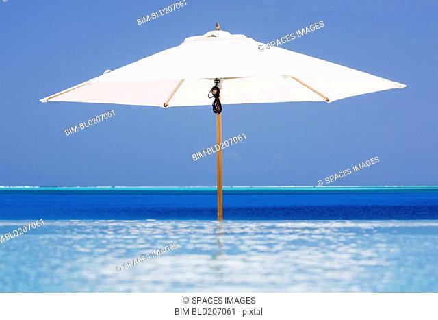 Open Beach Umbrella in Water