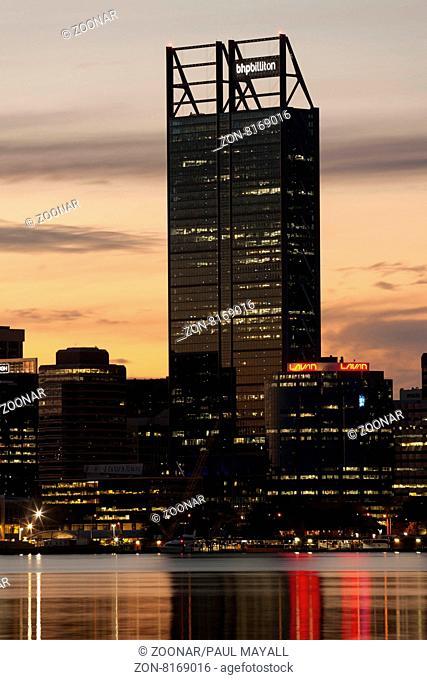 BHP Billiton Building, Perth City Skyline and Swan River by night, Western Australia
