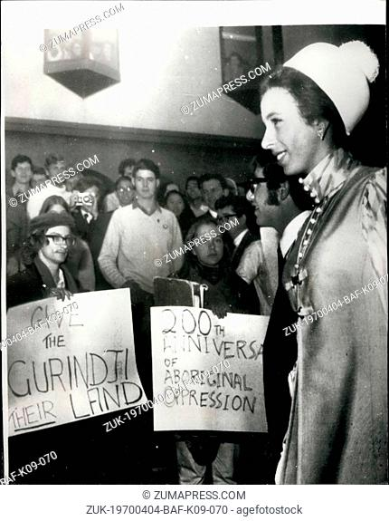 Apr. 04, 1970 - Princess Anne faces demonstrating students when she visits the Australian National University: Princess Anne was given a bouquet of weeds by a...
