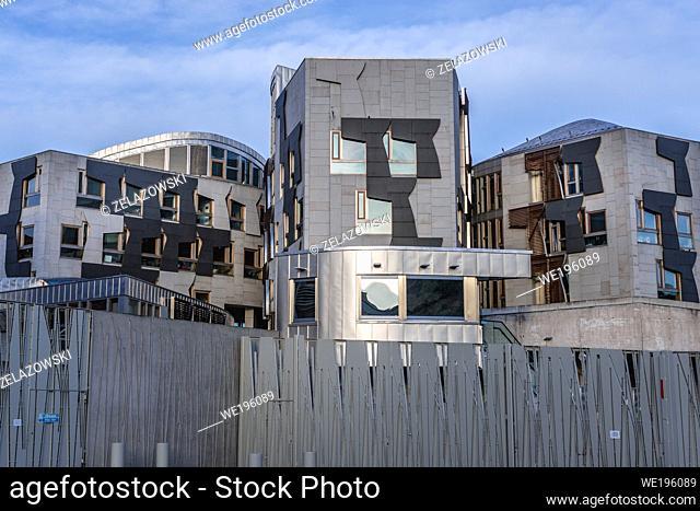 Scottish Parliament Building in Holyrood area of Edinburgh, capital of Scotland, part of United Kingdom