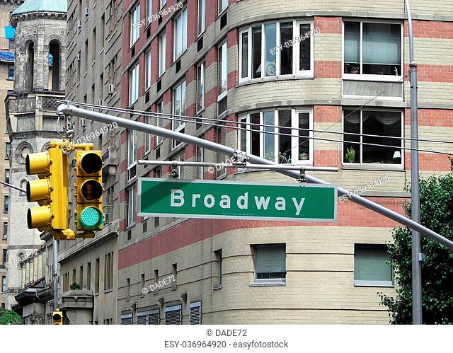 Broadway road sign, New York City