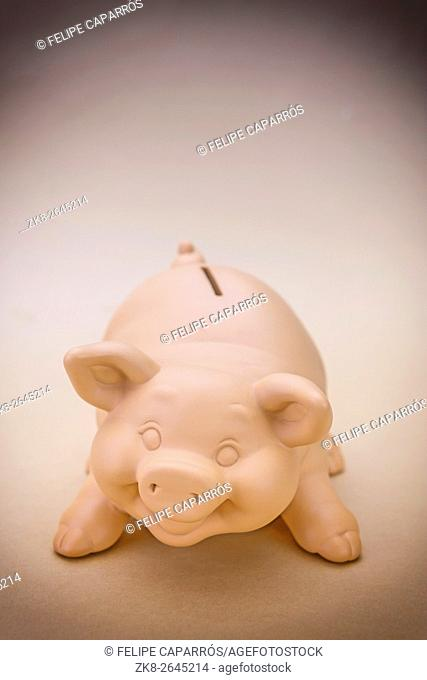 Kids Pink Piggy Bank Looking Forward