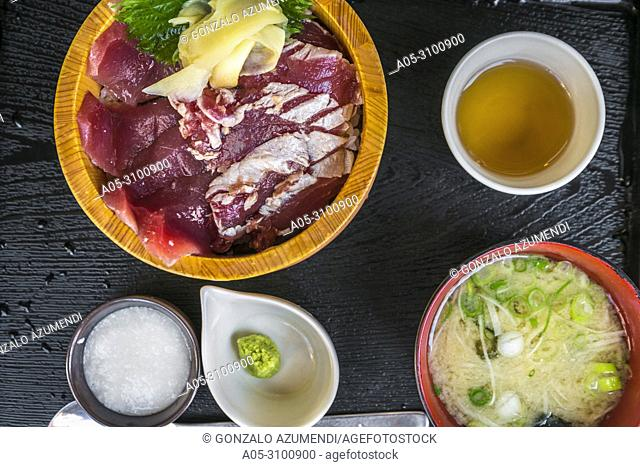 Kumano Kodo pilgrimage route. Raw tuna, rice bowl and sauce marinade. Katsuura. Wakayama Prefecture. Kii Peninsula. Kansai region. Honshü Island