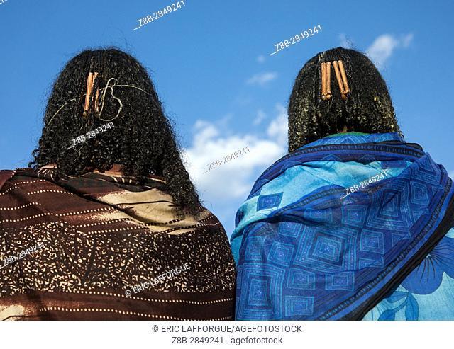 Borana hair decoration that indicates how many children the mothers have, Oromia, Yabelo, Ethiopia