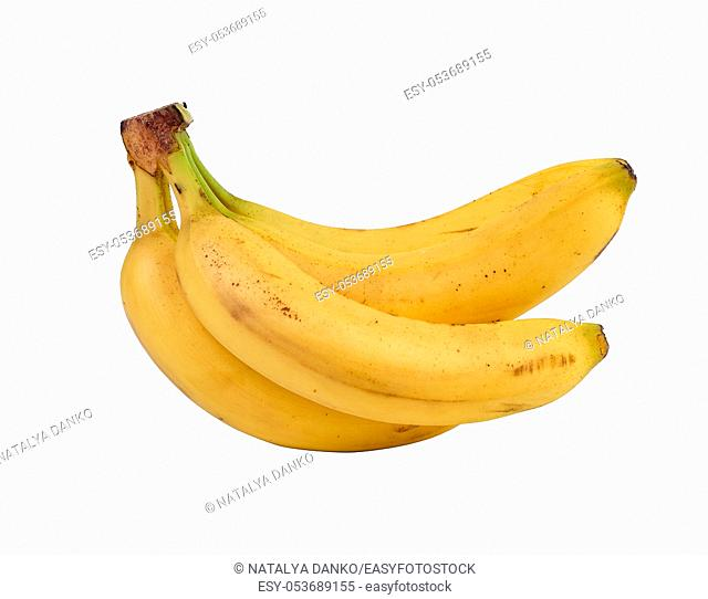 bunch of yellow ripe bananas in peel isolated on a white background, close up