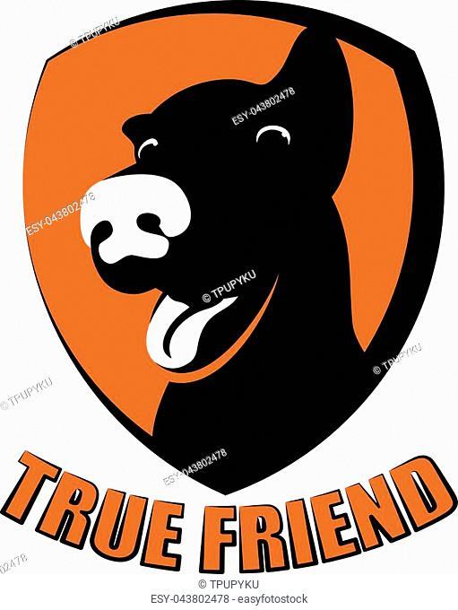 Dog silhouette on board shield. good for Pet logo, veterinary, or dog lover logo