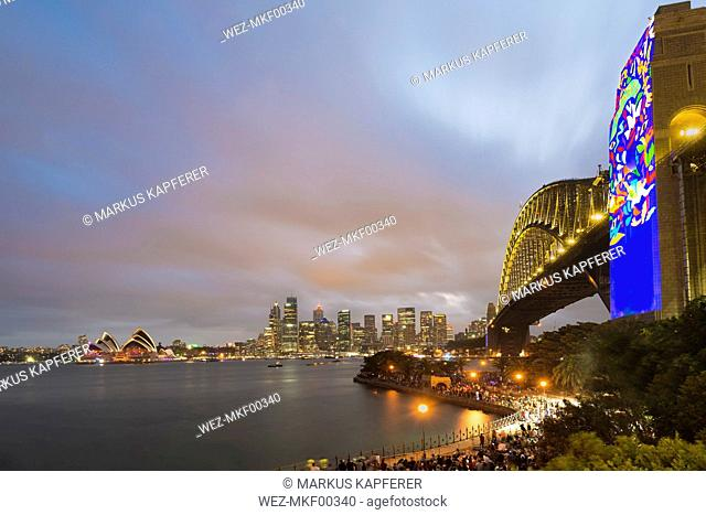 Australia, New South Wales, Sydney, Skyline with Sydney Opera House and Sydney Harbour Bridge in the evening