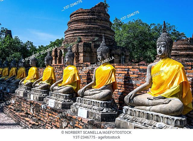 Asia. Thailand, Phra Nakhon Si Ayutthaya, old capital of Siam. Ayutthaya archaeological Park, classified UNESCO World Heritage. Wat Yai Chai Mongkhon