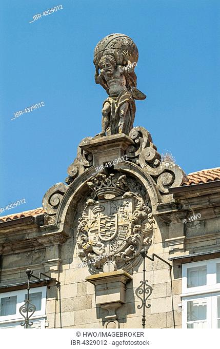 Atlas and arms of the Marquis of Bendañaam, 1759 figure on the Museum Eugenio Granell, historic centre, Santiago de Compostela, province of A Coruña, Galicia