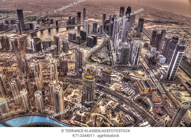 A view of the city skyline from Burj Khalifa in Dubai, UAE, Middle East