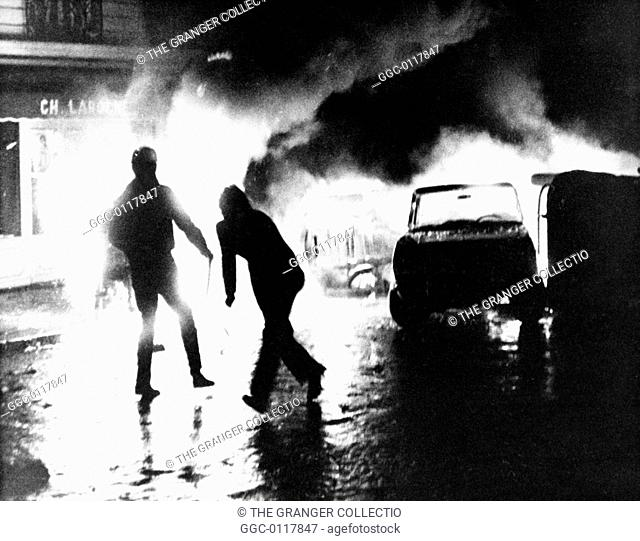 PARIS STUDENT REVOLT, 1968.A barricade of burning cars put up by students in the Latin Quarter of Paris, France, 11 May 1968