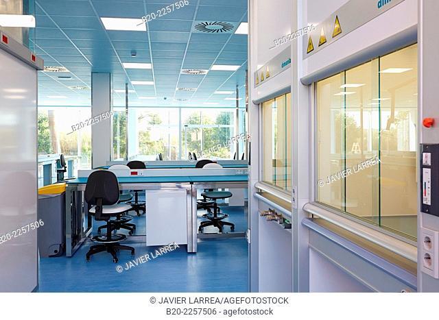 Bio pharmaceutical laboratory. Empty chemical laboratory. Barcelona. Spain