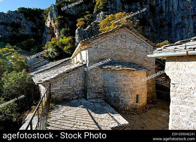 View of the historic Agia Paraskevi monastery in Monodendri, Greece