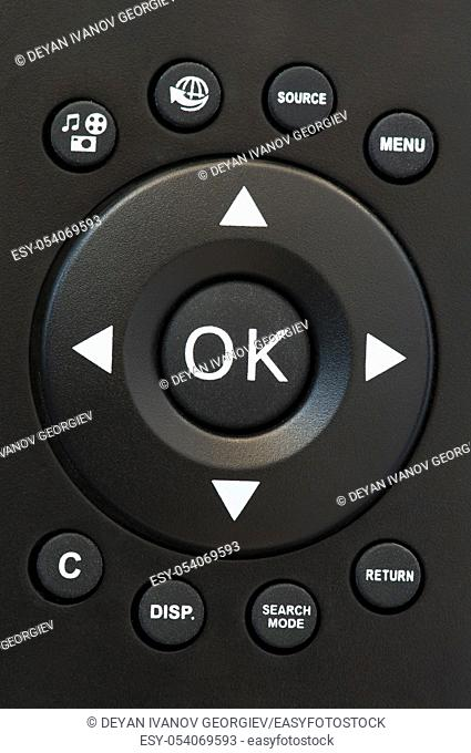 Television remote control black buttons