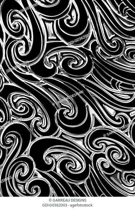 Silver and black wavy design